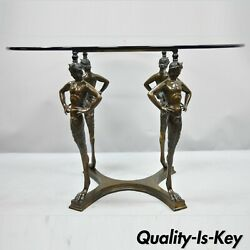 20th C. Cast Bronze Satyr Figural Pedestal Base Glass Top Dining Center Table
