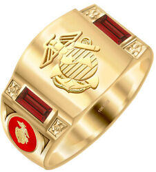 Menand039s 14k Or 10k Gold Simulated Birthstones Us Marine Corps Usmc Military Ring