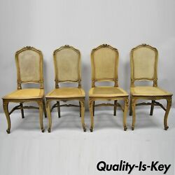 4 Antique French Provincial Louis Xv Style Carved Walnut And Cane Dining Chairs