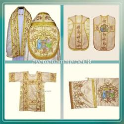 Gold Brocade Christmas Solemn High Mass Set Vestments Chasublecopedalmatic+all