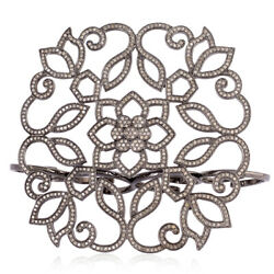 Floral Design Four Finger Ring 3.68 Ct Pave Diamond 925 Sterling Silver Jewelry