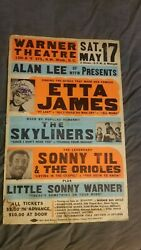 ETTA JAMES AUTOGRAPHED cardboard GLOBE HALL OF FAME BOXING STYLE CONCERT POSTER