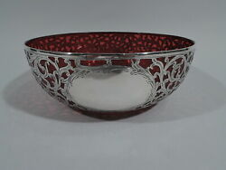 Alvin Bowl - R4526 - Antique Art Nouveau - American Red Glass And Silver Overlay