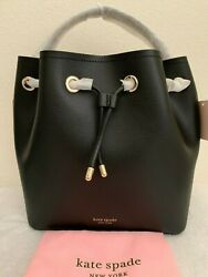 NWT Kate Spade Vivian Medium Bucket Leather Bag $358 Black Original Packaging $179.99