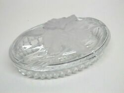 Clear Glass Oval Trinket Box W/ Frosted Embossed Orchid / Iris Floral Design