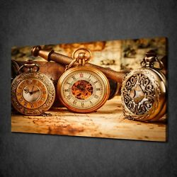 Retro Vintage Pocket Watches Modern Box Canvas Print Wall Art Picture