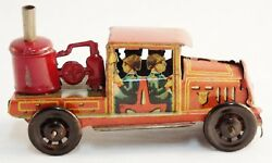 Vintage Penny Toy Tin Litho Fire Ladder Truck-very Rare