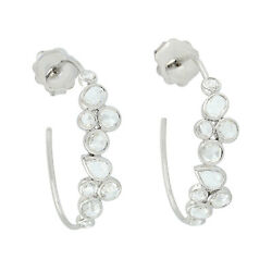 Solid 18k White Gold 1.69ct Rose Cut Diamond Hoop Stud Earrings Jewelry Womenand039s