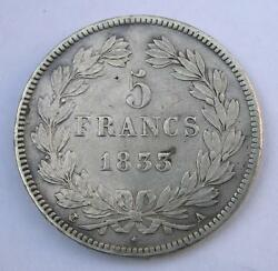 France 5 Francs 1833 A - Louis Philippe I - Silver Coin Circulated