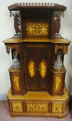 Antique Mixed Woods Wedding/liquor Cabinet Carved And Inlaid Ca.1900 Fabulous