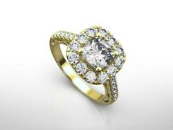 14k Yellow Gold Si1 Diamond Halo Ring Real Certified 2 Ct 4 Prongs Estate