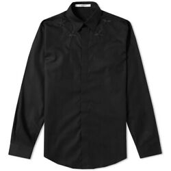 Givenchy Shirt Star-embroidered Cotton Black Shirt Contemporary Fit All Sizes
