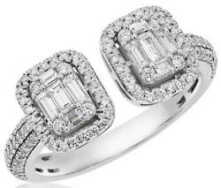 Large .88ct Diamond 14kt White Gold 3d Round And Baguette Double Square Fun Ring