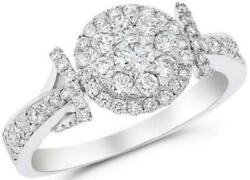 Estate .85ct Diamond 18kt White Gold 3d Cluster Round Love Knot Fun Ring