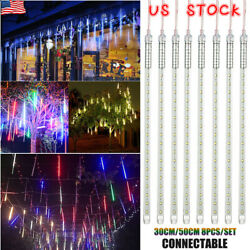 30/50cm Led Lights Meteor Shower Rain Tube Snowfall Outdoor Home Garden Decor Us