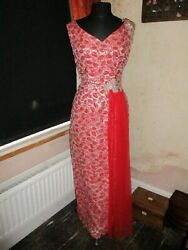 Beautiful 1950s/1960s Wiggle Maxi Red And Silver Hostess Prom Party Dress 10-12