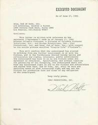 1983 Nick Nolte Signed Contractbows Out Of Columbia Pictures Fragile Life