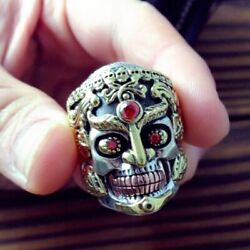 925 Sterling Silver Skull Ring King Skeleton Punk Rock Red Garnet Goth Stylish