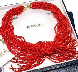 18K STUNNING ITALY 16 STRAND HUGE UNDYED RED CORAL TORSADE NECKLACE BY RAJOLA