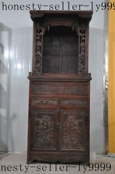 Old Chinese Yellow Pear Wood Carving Lotus Statue Cupboard Drawer Fokan Shrines
