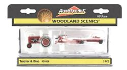Ho Scale Woodland Scenics Autoscenes As5564 Vintage Red Farm Tractor And Disc