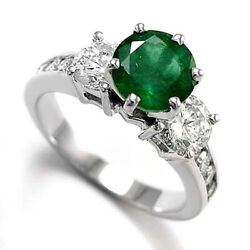 18k Solid White Gold Genuine Emerald And 1.0 Ct Diamond Engagement Ring R1401