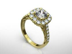 Anniversary Diamond Halo Ring 2 Ct Certified 14 Kt Yellow Gold Size 5.5 6.5 7.5