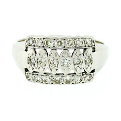 Antique Late Art Deco 14k White Gold .50ctw Old Diamond Wide Statement Band Ring
