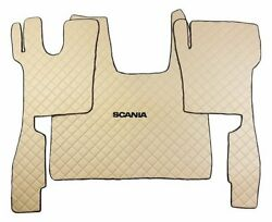 Set Beige Floor Mats Carpet Engine Cover Scania S 2017 + Truck Automatic Gearbox
