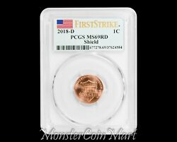 2018-d Shield Lincoln Cent Pcgs Ms69rd First Strike - Amazing Grade Wow