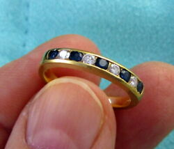 And Co. Estate Vintage 18k Yellow Gold Diamond Blue Sapphire Band Ring
