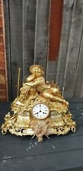 Antique French 8 Day Brass Andmarble Clock. Signed By Henry Marc And Japy Freres.
