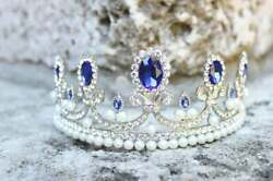 Oval Shape 29.47ct Sapphire, White Cz And White Round Pearls Queen Crown Tiara