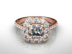 Diamond Ring Halo Si2 D Engagement 4 Prongs 14k Rose Gold Red 2 Ct Size 4.5 - 9