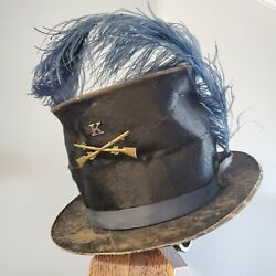 Civil War Union Infantry Company K Beaver Hat Feather And Maker Marks