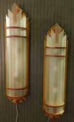 Fabulous Antique Wooden And Glass Art Deco Painted Huge Theater Wall Sconces 2