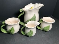 Nice Omnibus Fitz And Floyd Lily Flower Tea Set Teapot Creamer And 2 Cups