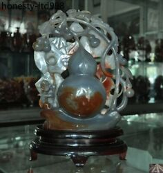 14chinese Natural Agate Onyx Carved Monkey Animal Gourd Auspicious Lucky Statue