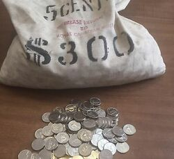 1965 5 ROLLS CANADIAN MINT NICKEL BANK BANK BAG UNCIRCULATED NOT SEARCHED COINS