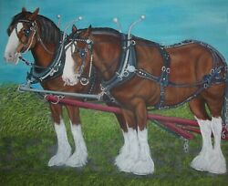 Original Oil Painting Clydesdale Horses Draft Horses - Size 24x 20 X 5/8