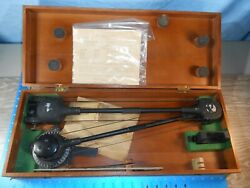 Vintage Wwii U.s. Navy Military Aircraft Protractor Tool Original Wood Case 5c