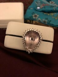 Vintage African Kunzite And Diamond Ring 14kt White Gold Size 7