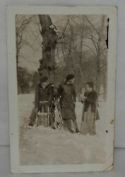 Vintage 1930s Snapshot Photo 1 Boy And 2 Girls With Sleds In Snowy Woods