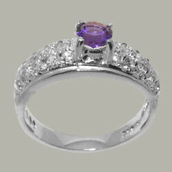 Real 18k White Gold Natural Amethyst And Diamond Womens Band Ring - Sizes 4 To 12