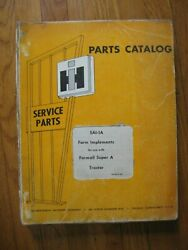 Farmall Super A Tractor Planter Plow Mower Harvester Implements Parts Catalog