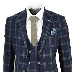 Mens Navy Blue 3 Piece Suit Double Breasted Waistcoat Tan Of Wales Check