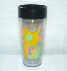 Starbucks Thermoserv. 16 Oz Clear Abstract Flower Travel Tumbler Cold/warm Only