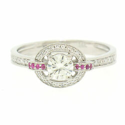 14k Solid White Gold 0.85ctw Round Pave Set Diamond And Pink Sapphire Halo Ring