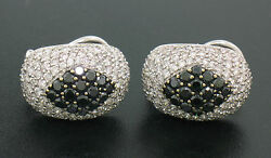 18k Solid White Gold 3.60ctw White And Black Diamond Drenched Dome Button Earrings