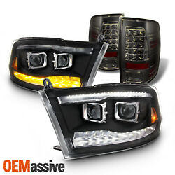 [19 UPGRADE]Fit 09-18 Ram Hi/Lo Projector Housing + Bulbs| Tail Lights Combo